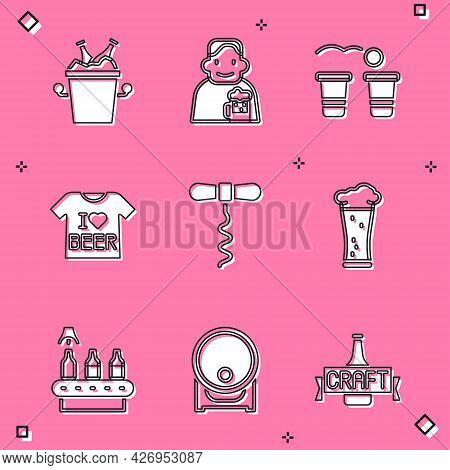 Set Beer Bottles In Ice Bucket, Happy Man With Beer, Pong Game, T-shirt, Wine Corkscrew, Glass Of, C