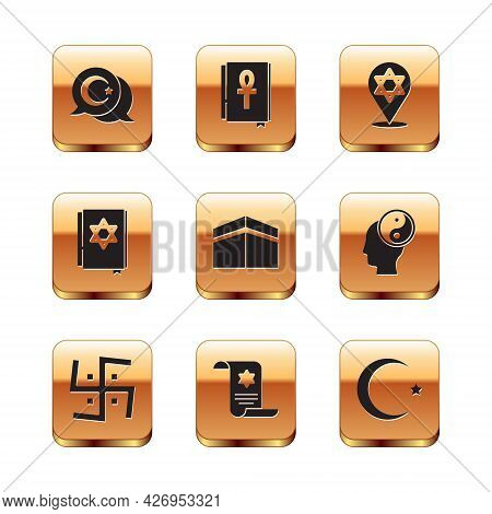 Set Star And Crescent, Hindu Swastika, Torah Scroll, Kaaba Mosque, Jewish Torah Book, Of David, And