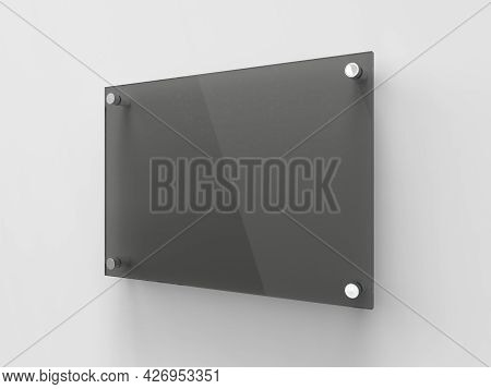 Blank A4 Black Transparent Glass Office Corporate Signage Plate Template, Clear Printing Board For B