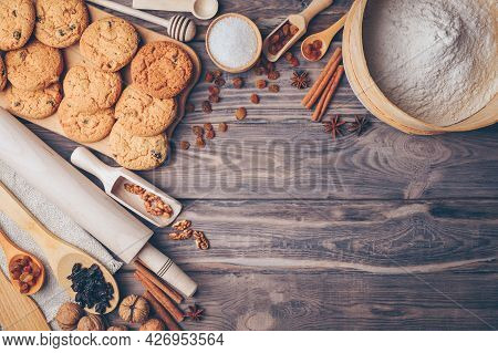 Dough, Baking And Cooking Background. Flour And Eggs On Wooden Kitchen Background As Ingredients For