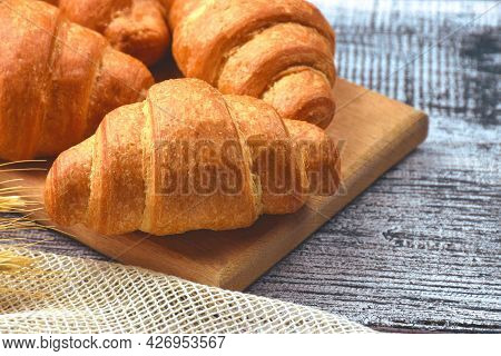 Breakfast With Croissant, Chocolate Croissant. Croissant With Chocolate Filling. Sliced croissant