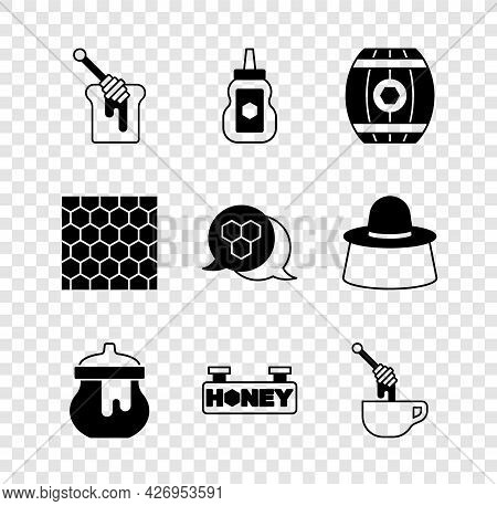 Set Honey Dipper Stick With Honey, Jar Of, Wooden Barrel, Hanging Sign Honeycomb, Honeycomb And Icon