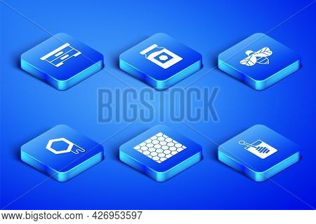 Set Honey Dipper Stick, Hive For Bees, Honeycomb, Jar Of Honey And Bee Icon. Vector