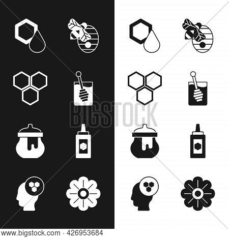 Set Honey Dipper Stick, Honeycomb, Hive For Bees, Jar Of Honey, Flower And Beekeeper Icon. Vector