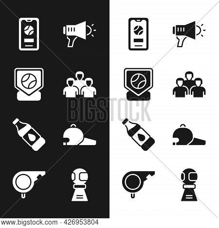 Set Team Of Baseball Players, Baseball, Mobile With, Megaphone, Bottle Water, Cap, Award Cup And Whi