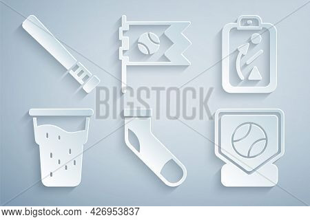 Set Baseball Sock, Planning Strategy, Glass Of Beer, Base, Flag With Baseball And Bat Icon. Vector