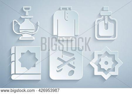 Set Speaker Mute, Perfume, Holy Book Of Koran, Octagonal Star, Shirt Kurta And Hookah Icon. Vector