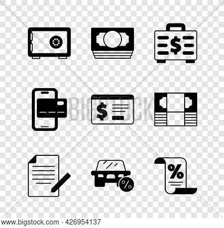 Set Safe, Stacks Paper Money Cash, Briefcase And, Document Pen, Car Leasing Percent, Finance Documen