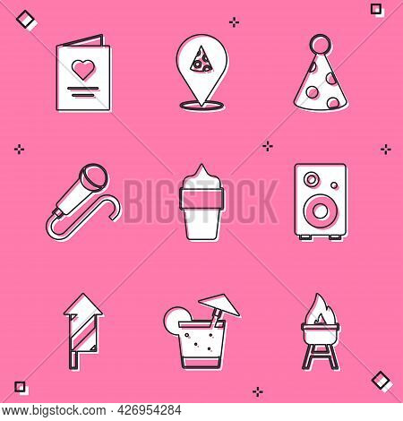 Set Postcard With Heart, Slice Of Pizza, Party Hat, Microphone, Ice Cream In Waffle Cone, Stereo Spe