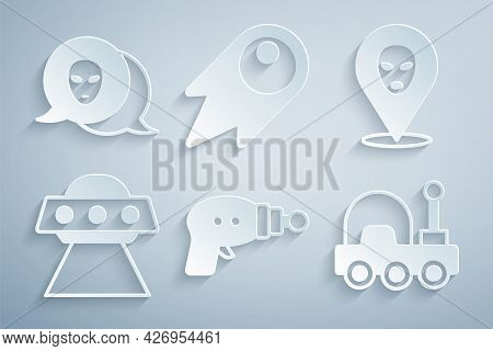 Set Ray Gun, Alien, Ufo Flying Spaceship, Mars Rover, Comet Falling Down Fast And Icon. Vector