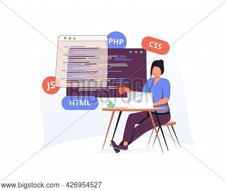 Programming Illustration Set. Different Characters Working On Web And Application Development On Com