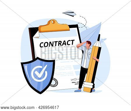 Clerk, Signed Document And Shield. Concept Of Employee Insurance, Protection Of Workers Health, Work