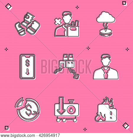Set Credit Card, Employee Dismissal, Storm, Mobile Stock Trading, Shutdown Of Factory, Worker, Dolla