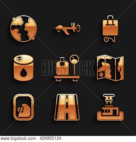 Set Scale With Suitcase, Airport Runway, Control Tower, World Travel Map, Airplane Window, Barrel Oi