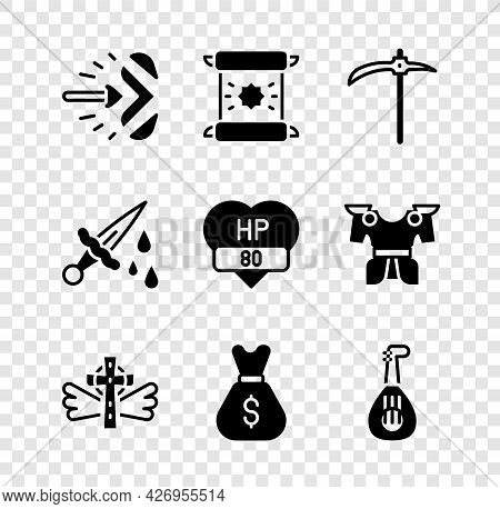 Set Magic Arrow, Decree, Parchment, Scroll, Pickaxe, Christian Cross, Old Money Bag, Lute, Sword Wit