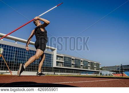 Male Thrower Javelin Throw At Athletics Competition