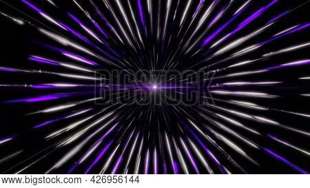 Multicolored Direct Rays Shine From The Center In All Directions. Animation. A Lot Of Bright Beams O