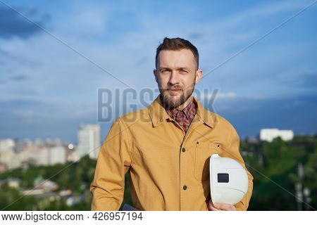 Foreman, Architect, Manager Or Building Contractor In Construction Industry Concept. Bearded Man In