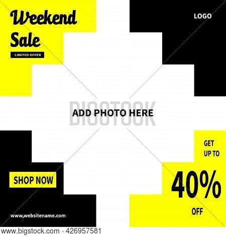 Weekend Sale Social Media Post Template Design