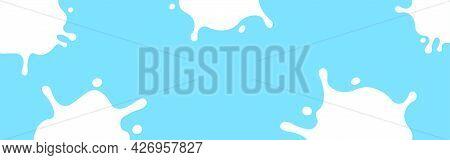 Milk Splash On Light Blue For Banner, Milky Splatter For Background, Copy Space, Milk Blob Shape Gra