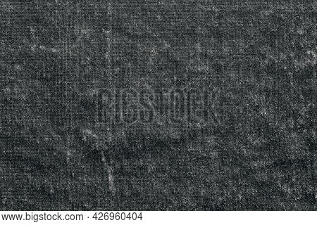 Textured Black And White Background Or Wallpaper Made Of Old Velvet Fabric