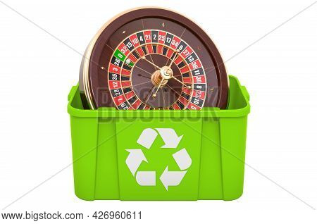 Recycling Trashcan With Casino Roulette, 3d Rendering Isolated On White Background