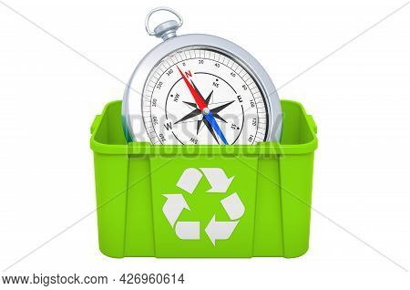 Recycling Trashcan With Compass, 3d Rendering Isolated On White Background