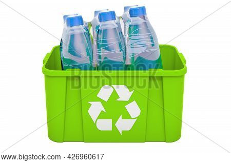 Recycling Trashcan With Water Bottles, 3d Rendering Isolated On White Background