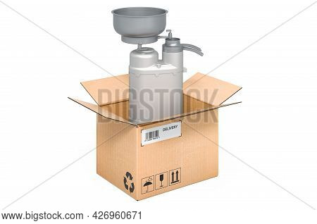 Milk Separator Inside Cardboard Box, Delivery Concept. 3d Rendering Isolated On White Background