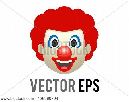 Vector Circus Or Birthday Clown Icon With White Face Makeup, Red Nose, Exaggerated Eyes And Smile