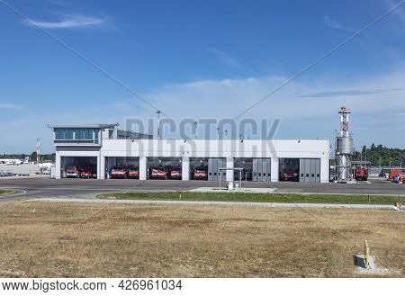 Venice, Italy - July 1, 2021: Firebrigade At Airport Marco Polo In Venice, Italy.