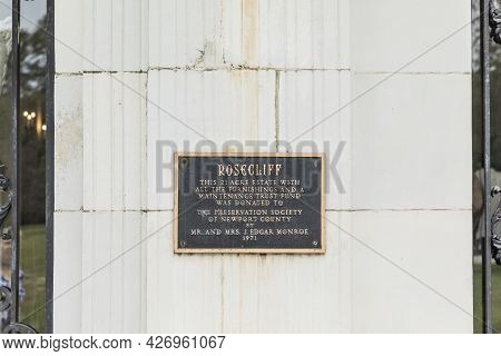 Newport, Rhode Island - Sep 23, 2017: Exterior Plate View Of Historic Rosecliff Mansion In Rhode Isl