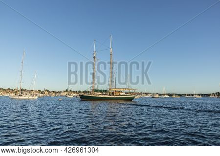 Newport, Usa - September 23, 2017:  The Historic Sailing Boat, A Schooner, Tree Of Life In The Home
