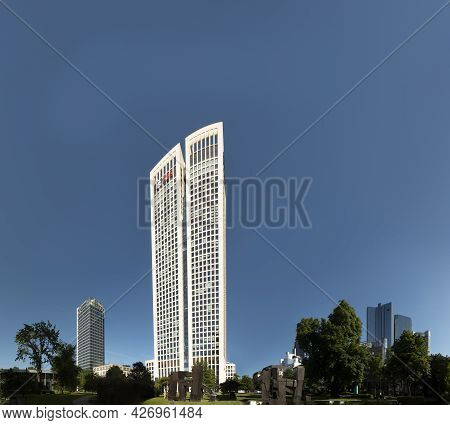 Frankfurt, Germany - June 13, 2021: Skyline Of Frankfurt Am Main With Ubs And German Bank Headquarte