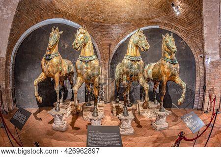 Venice, Italy - July 1, 2021: Ancient Bronze Horses Inside The Basilica Di San Marco In Venice. Famo