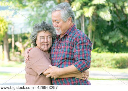 Happy Love Elderly Senior Couple Hugging Smile Face , Senior Couple Old Man And Senior Woman Relaxin