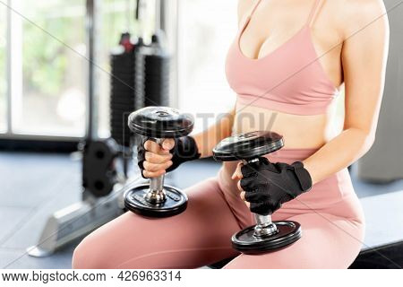 Close Up Fitness Slim Fit Woman In Sports Wear Push Up With Dumbbells In A Gym Fitness Room , Sexy G