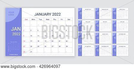 2022 Calendar Planner Template. Week Starts Sunday. Monthly Calender Organizer. Vector. Table Schedu