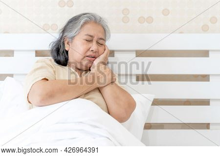 Asian Senior Woman Patients Toothache Hurts - Elderly Patients Medical And Healthcare Concept