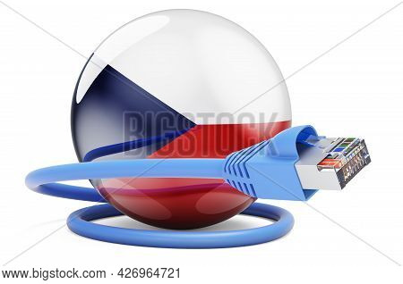 Internet Connection In Czech Republic. Lan Cable With Czech Flag. 3d Rendering Isolated On White Bac