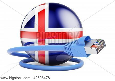 Internet Connection In Iceland. Lan Cable With Icelandic Flag. 3d Rendering Isolated On White Backgr