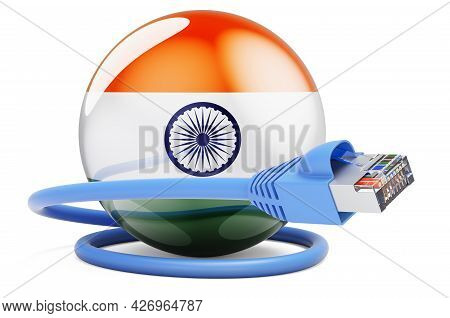 Internet Connection In India. Lan Cable With Indian Flag. 3d Rendering Isolated On White Background