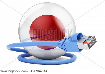 Internet Connection In Japan. Lan Cable With Japanese Flag. 3d Rendering Isolated On White Backgroun