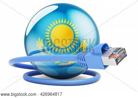 Internet Connection In Kazakhstan. Lan Cable With Kazakh Flag. 3d Rendering Isolated On White Backgr