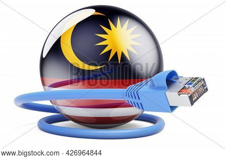 Internet Connection In Malaysia. Lan Cable With Malaysian Flag. 3d Rendering Isolated On White Backg