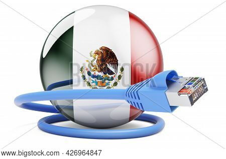 Internet Connection In Mexico. Lan Cable With Mexican Flag. 3d Rendering Isolated On White Backgroun