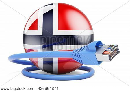 Internet Connection In Norway. Lan Cable With Norwegian Flag. 3d Rendering Isolated On White Backgro