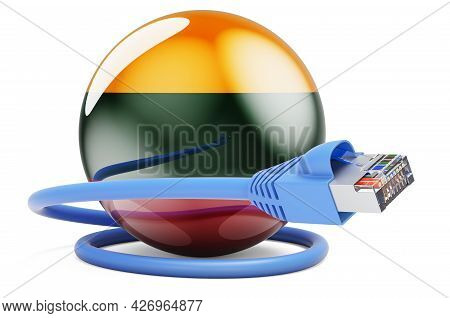 Internet Connection In Lithuania. Lan Cable With Lithuanian Flag. 3d Rendering Isolated On White Bac