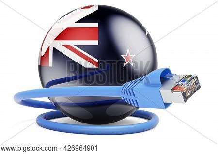 Internet Connection In New Zealand. Lan Cable With New Zealand Flag. 3d Rendering Isolated On White