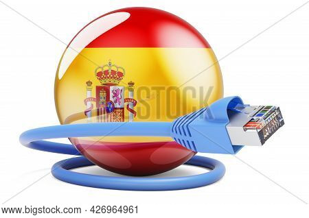 Internet Connection In Spain. Lan Cable With Spanish Flag. 3d Rendering Isolated On White Background